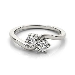 0.75 CTW Certified VS/SI Diamond 2 Stone 2 Stone Ring 18K White Gold - REF-119A3X - 28230