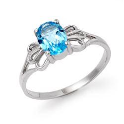 0.90 CTW Blue Topaz Ring 10K White Gold - REF-9T8M - 12574