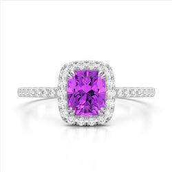 1.25 CTW Amethyst & Micro Pave VS/SI Diamond Halo Ring 10K White Gold - REF-34W5F - 22895