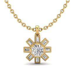 1.33 CTW VS/SI Diamond Solitaire Art Deco Necklace 18K Yellow Gold - REF-220A9X - 37069