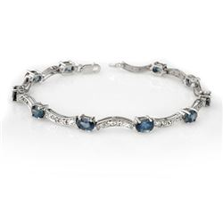 4.25 CTW Blue Sapphire & Diamond Bracelet 14K White Gold - REF-78Y2K - 10283