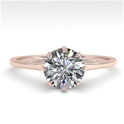 1.01 CTW Certified VS/SI Diamond Engagement Ring 18K Rose Gold - REF-286H3A - 35741