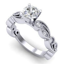 1.01 CTW VS/SI Diamond Solitaire Art Deco Ring 18K White Gold - REF-218X2T - 37316