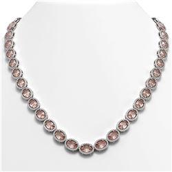 45.98 CTW Morganite & Diamond Halo Necklace 10K White Gold - REF-850X9T - 40565