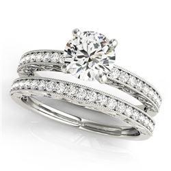 1.38 CTW Certified VS/SI Diamond Solitaire 2Pc Wedding Set Antique 14K White Gold - REF-376F4N - 314