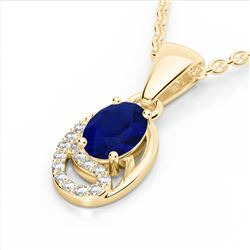 1.25 CTW Sapphire & Micro VS/SI Diamond Necklace 10K Yellow Gold - REF-19A6X - 22357