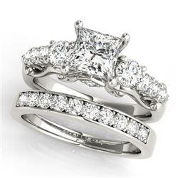 1.85 CTW Certified VS/SI Diamond 3 Stone Princess Cut 2Pc Set 14K White Gold - REF-305A5X - 32024