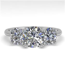2 CTW VS/SI Diamond Past Present Future Designer Ring 18K White Gold - REF-407F3N - 32463