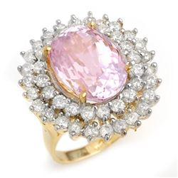 12.08 CTW Kunzite & Diamond Ring 14K Yellow Gold - REF-264F2N - 14335