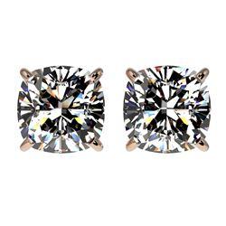 2 CTW Certified VS/SI Quality Cushion Cut Diamond Stud Earrings 10K Rose Gold - REF-585X2T - 33098