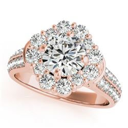 2 CTW Certified VS/SI Diamond Solitaire Halo Ring 18K Rose Gold - REF-270N2Y - 26707