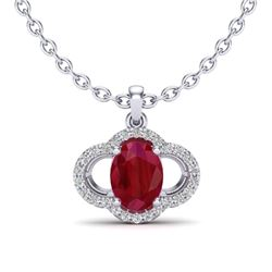 2 CTW Ruby & Micro Pave VS/SI Diamond Necklace 10K White Gold - REF-30H2A - 20639