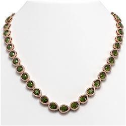 35.13 CTW Tourmaline & Diamond Halo Necklace 10K Rose Gold - REF-775X5T - 41064