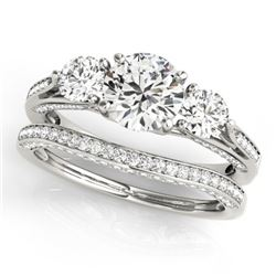 2.05 CTW Certified VS/SI Diamond 3 Stone 2Pc Wedding Set 14K White Gold - REF-447M3H - 32021