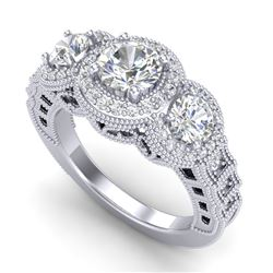 2.16 CTW VS/SI Diamond Solitaire Art Deco 3 Stone Ring 18K White Gold - REF-361A8X - 36968