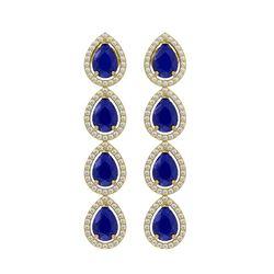 10.2 CTW Sapphire & Diamond Halo Earrings 10K Yellow Gold - REF-155Y5K - 41146
