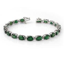 16.25 CTW Emerald Bracelet 10K White Gold - REF-94A5X - 13872