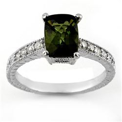 2.15 CTW Green Tourmaline & Diamond Ring 14K White Gold - REF-49Y8K - 11432