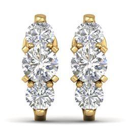 2 CTW Certified VS/SI Diamond 3 Stone Stud Earrings 14K Yellow Gold - REF-230M4H - 30479