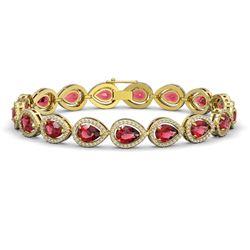 16.93 CTW Tourmaline & Diamond Halo Bracelet 10K Yellow Gold - REF-340M4H - 41110