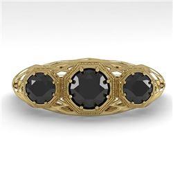1.00 CTW Past Present Future Black Diamond Ring 18K Yellow Gold - REF-81K3W - 36061