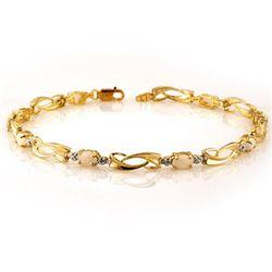 2.02 CTW Opal & Diamond Bracelet 10K Yellow Gold - REF-28W2F - 10490