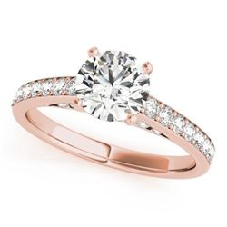 1.5 CTW Certified VS/SI Diamond Solitaire Ring 18K Rose Gold - REF-381H8A - 27469
