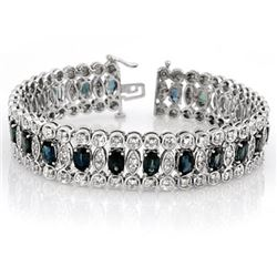 18.50 CTW Blue Sapphire & Diamond Bracelet 18K White Gold - REF-573X6T - 14621