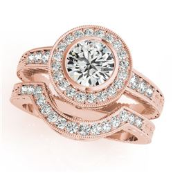 1.54 CTW Certified VS/SI Diamond 2Pc Wedding Set Solitaire Halo 14K Rose Gold - REF-407N3Y - 31050