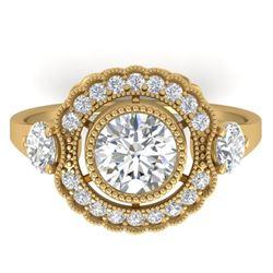 1.9 CTW Certified VS/SI Diamond Art Deco 3 Stone Ring 14K Yellow Gold - REF-411H5A - 30548