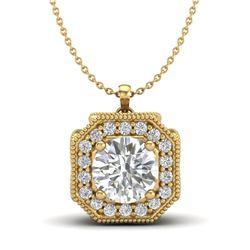 1.54 CTW VS/SI Diamond Solitaire Art Deco Necklace 18K Yellow Gold - REF-409X3T - 37327