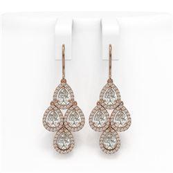 5.85 CTW Pear Diamond Designer Earrings 18K Rose Gold - REF-1090N2Y - 42828