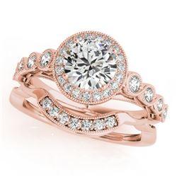 1.6 CTW Certified VS/SI Diamond 2Pc Wedding Set Solitaire Halo 14K Rose Gold - REF-402Y4K - 30850