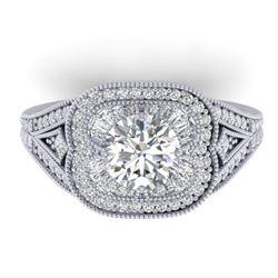 1.95 CTW Certified VS/SI Diamond Art Deco Micro Ring 14K White Gold - REF-421X6T - 30504