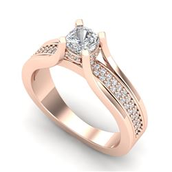 1.01 CTW Cushion VS/SI Diamond Solitaire Micro Pave Ring 18K Rose Gold - REF-200F2N - 37161