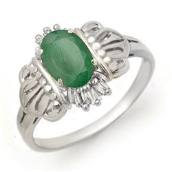 0.81 CTW Emerald & Diamond Ring 10K White Gold - REF-18M2H - 14204