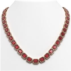 60.49 CTW Tourmaline & Diamond Halo Necklace 10K Rose Gold - REF-1024W8F - 41349