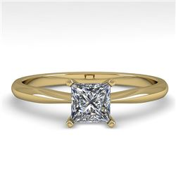 0.55 CTW Princess Cut VS/SI Diamond Engagement Designer Ring 18K Yellow Gold - REF-102K2W - 32395