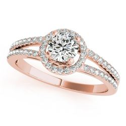 1 CTW Certified VS/SI Diamond Solitaire Halo Ring 18K Rose Gold - REF-196A9X - 26680