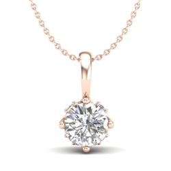 0.62 CTW VS/SI Diamond Solitaire Art Deco Stud Necklace 18K Rose Gold - REF-101M8H - 37023