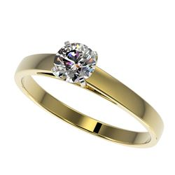 0.53 CTW Certified H-SI/I Quality Diamond Solitaire Engagement Ring 10K Yellow Gold - REF-54K2W - 36