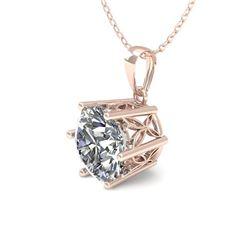 0.50 CTW VS/SI Diamond Solitaire Necklace 18K Rose Gold - REF-84A9X - 35858