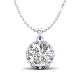 1.36 CTW VS/SI Diamond Solitaire Art Deco Necklace 18K White Gold - REF-361H8A - 37244
