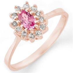 0.60 CTW Pink Sapphire & Diamond Ring 14K Rose Gold - REF-30X5T - 11285