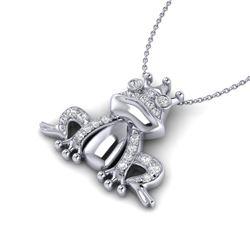 0.25 CTW Micro Pave VS/SI Diamond Frog Necklace White 10K White Gold - REF-30A8X - 22496