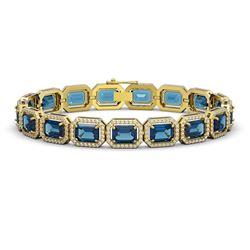 25.36 CTW London Topaz & Diamond Halo Bracelet 10K Yellow Gold - REF-313X3T - 41416