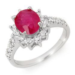3.05 CTW Ruby & Diamond Ring 14K White Gold - REF-69T6M - 13937