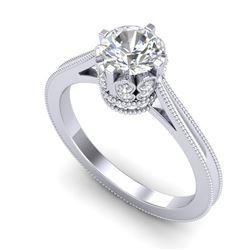 1.14 CTW VS/SI Diamond Art Deco Ring 18K White Gold - REF-220W5F - 36827