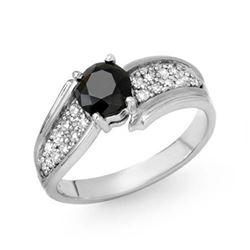 1.40 CTW VS Certified Black & White Diamond Ring 14K White Gold - REF-71W5F - 14088
