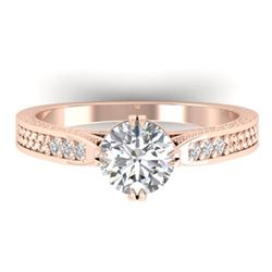 1.22 CTW Certified VS/SI Diamond Solitaire Art Deco Ring 14K Rose Gold - REF-355W3F - 30508